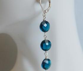  London blue quartz Earrings on Sterling Silver - Women's jewellery-Wedding Jewelry- Bridal Jewelry -Mother's Day
