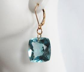  Gorgeous AAA Gem 35ct. Blue Aquamarine Dangle Drop Earrings- Wedding Jewelry- Bridal Jewelry