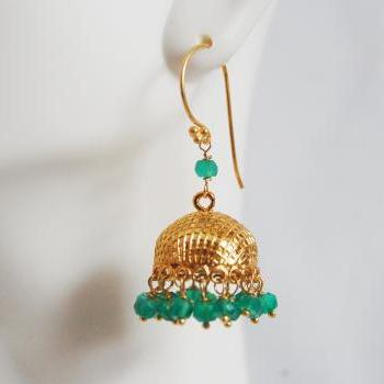 Gorgeous Green Quartz Chandelier Earrings-Green quartz Gold Plated bell cap Chandelier earrings-Dangle Drop Earrings